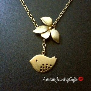 16K Gold Bird Orchid Lariat Necklace